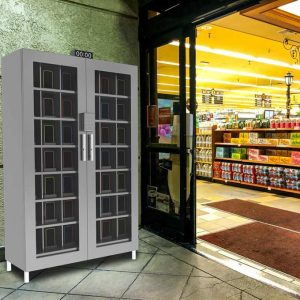 smartphone locker in grocery store